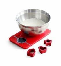 BRABANTIA - Zestaw do pieczenia - Waga + miska stalowa + foremki - czerwony