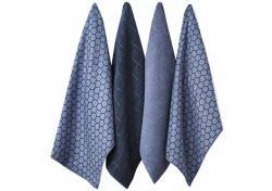 Ladelle Honeycomb Dusky Blue komplet 4 ręczników kuchennych z mikrofibry L32925