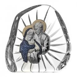 Skałka kryształowa z posrebrzanym wizerunkiem Świętej Rodziny