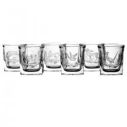 Szklanki grawerowane myśliwskie do whisky 6 sztuk 4159
