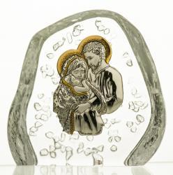 Przycisk skałka Święta Rodzina kryształ 4154