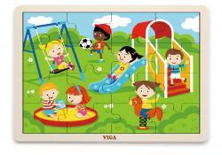 Viga 51454 Puzzle na podkładce 16 elementów - plac zabaw