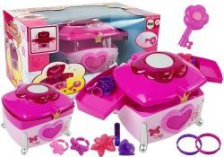 Zestaw piękności Kuferek Klucz Różowy Szkatułka na akcesoria Dźwięk