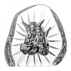 Skałka kryształowa z blaszką aniołki z dzieciątkiem (07090)
