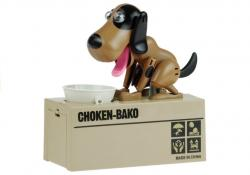 Skarbonka Pies Zjadający Monety Ciemny Brąz Łatki