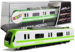 Pociąg Kolejka Lokomotywa z Napędem Dźwięk i Światła Zielony
