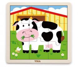 Viga 51438 Puzzle na podkładce 9 elementów - krówka