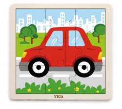 Viga 51444 Puzzle na podkładce 9 elementów - autko