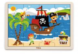 Viga 51459 Puzzle na podkładce 16 elementów - piraci