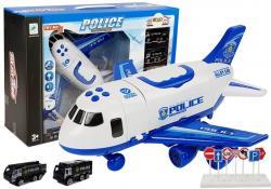 Samolot Rozkładany Policyjny z Autkami 1:64 ze światłami i dźwiękiem