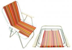 Krzesło turystyczne pomarańczowe w paski
