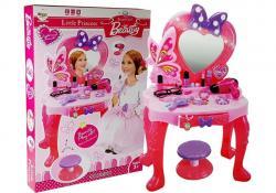 Zestaw Piękności Toaletka dla dziewczynki z Lusterkiem Dźwiękami Światłem Stołeczek