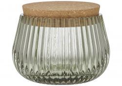 Ladelle Zephyr ?ebrowany, szklany pojemnik Green 8 cm L62422
