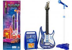 Gitara Elektryczna Struny Mikrofon Wzmacniacz Niebieska