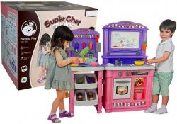 Kuchnia dla Dzieci 66 elementów Różowa i Akcesoria Kuchenne Znikopis Woda