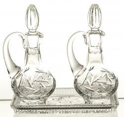 Komplet kryształowy taca i 2 karafki (04909)