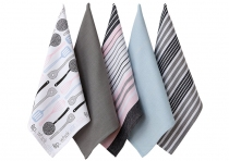 Ladelle Mix Flip Whisk wzór Orange komplet pięciu ręczników kuchennych L32916