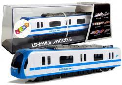 Pociąg Kolejka Wagon z Napędem Dźwięk i Światła Niebieska