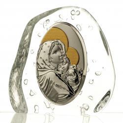 Przycisk skałka Madonna z dzieciątkiem kryształowa (02443)