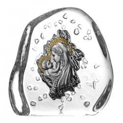 Przycisk skałka Madonna z dzieciątkiem kryształ 02783