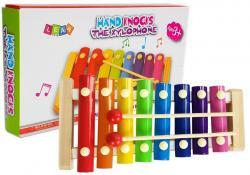 Cymbałki Drewniane Kolorowe 8 Tonów Dzwonki Pałeczki
