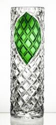 Wazon kryształowy z zielonym liściem CARO (14739)