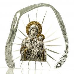 Skałka, przycisk kryształowy z wizerunkiem Madonny z Dzieciątkiem - 3490 -