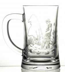 Kufel grawerowany do piwa wędkarz kryształowy (05956)