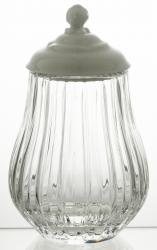 Pojemnik naczynie kryształowe z porcelanowym deklem (11088)