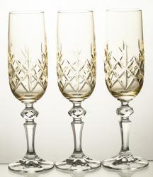 Kieliszki kolorowe do szampana kryształowe 3 sztuki