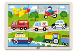 Viga 51462 Puzzle na podkładce 24 elementy - pojazdy w mieście