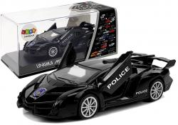 Auto Sportowe z Naciągiem i Dźwiękiem Policyjne Czarne