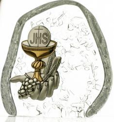Skałka przycisk kryształowy Pamiątka I Komunii Świętej -4509