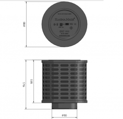 PlasmaMade GUC 1212 - Maksymalna wydajność 600m3 / h - Plazmowy filtr uniwersalny do okapów