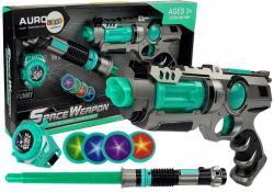 Pistolet Laserowy Miecz Świetlny Miotacz Dysków Zestaw