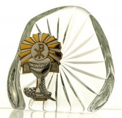Skałka przycisk kryształ I Komunia Święta (05536)