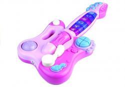 Interaktywna Gitara Pianinko Gra + Świeci Różowa