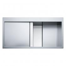 Franke Crystal Line CLV 214 komora z prawej Stal szlachetna jedwab/Białe szkło