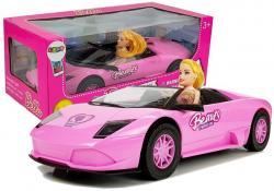 Samochód Sportowy Cabrio Auto z Lalką Różowe