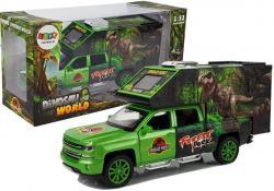 Auto Metalowe Ciężarówka transportu Dinozaurów Zielona