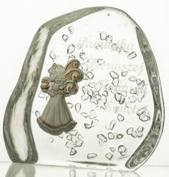 Komunia przycisk kryształowy z grawerem dla dziewczynki (13673)
