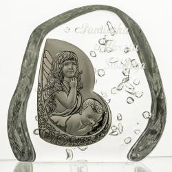 Skałka z aniołkiem i grawer na Chrzest 3698