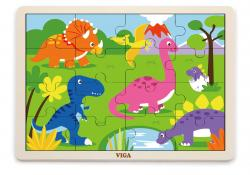 Viga 51452 Puzzle na podkładce 16 elementów - dinozaury