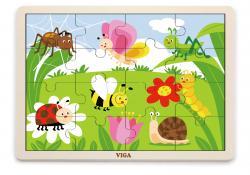 Viga 51450 Puzzle na podkładce 16 elementów - życie na łące