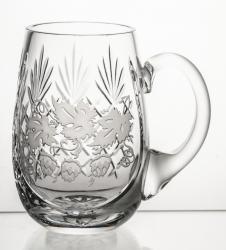 Kufel kryształowy do piwa z grawerem chmielu (05581)