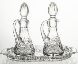 Komplet kryształowy taca i 2 karafki (13193)