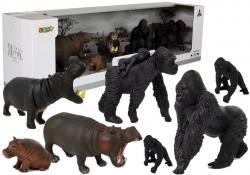 Zestaw Figurek Zwierzęta Safari Hipopotamy Goryle