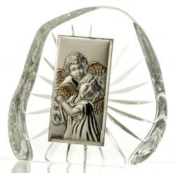 Przycisk skałka kryształowa aniołki na Chrzest (7292)