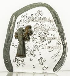 Komunia przycisk kryształowy z grawerem dla chłopca (13991)
