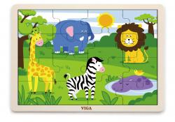 Viga 51449 Puzzle na podkładce 16 elementów - safarii